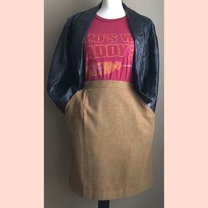 Vintage | Wool Mustard Color Midi Skirt Size 8